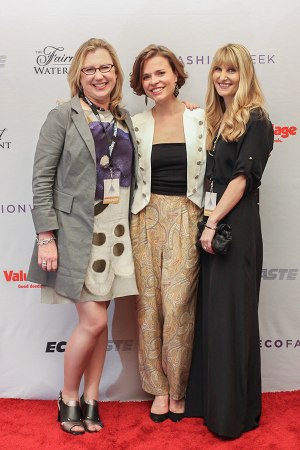 Myriam Laroche (centre), founder of Eco Fashion Week at the Fairmont Waterfront with Karin Koonings (left) and Sara Gaugl (right) of Value Village.