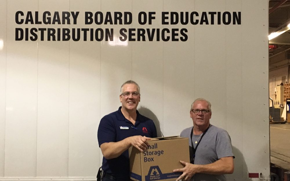 Maple Leaf Self Storage dropping off supplies to Calgary Board of Education