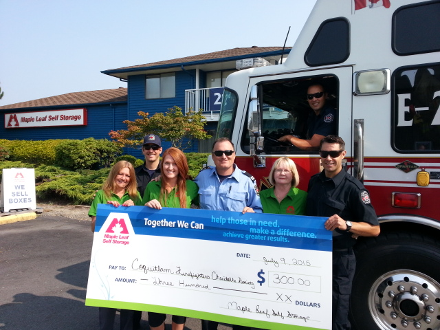 Self Storage Coquitlam donation Coquitlam Firefighters Charitable Society
