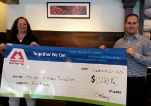 Maple Leaf Self Storage donates Starlight Children's Foundation