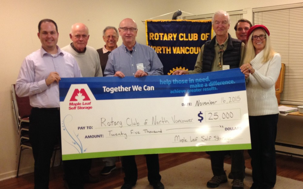 Maple Leaf Self Storage donates Rotary Club of North Vancouver
