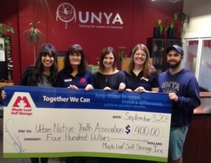 Maple Leaf Self Storage donates to Urban Native Youth Association