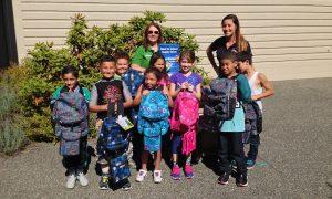 Happy Recipients from Douglas School Langley School - Maple Leaf Self Storage School Supplier Drive 2016