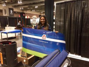 Pam Brar setting up our Calgary Fall Home show booth