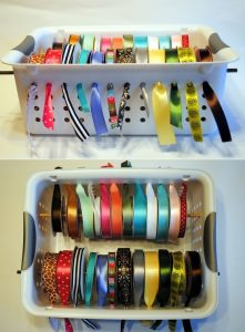 Turn plastic tubs into hanging storage