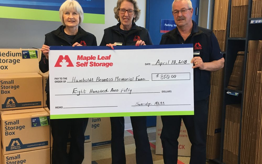 Maple Leaf Self Storage Calgary donated to the Humboldt Broncos Memorial Fund